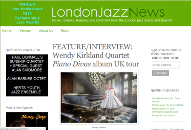 Feature and intervied on London Jazz News